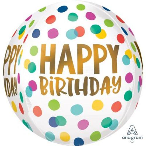 Happy Birthday Dots Foil Orbz Balloon