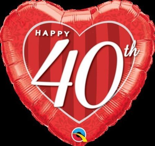 Happy 40th Damask Heart Foil Balloon