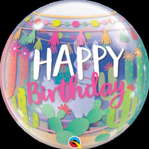 Llama Bday Bubble Balloon