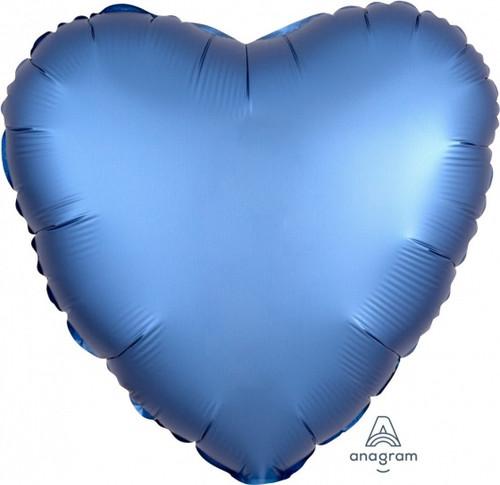 Heart Satin Luxe Azure Blue Foil Balloon