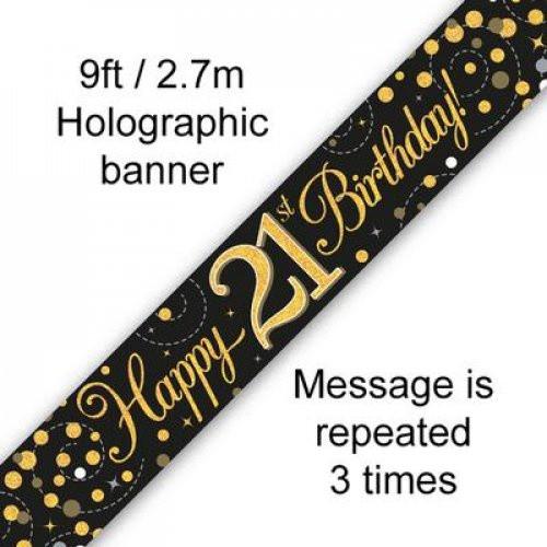 Sparkling Fizz Black and Gold 21st Birthday Banner