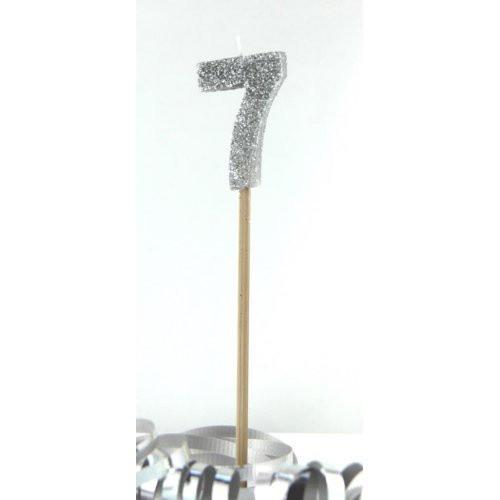 Silver Glitter Long Stick Candle #7