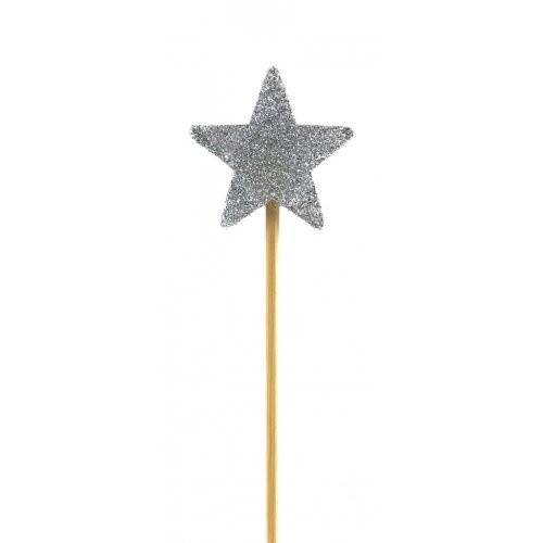 Silver Glitter Long Stick Candle Star