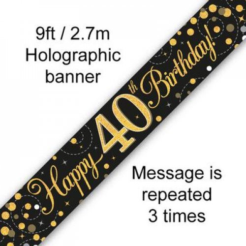 Sparkling Fizz Black and Gold 40th Birthday Banner