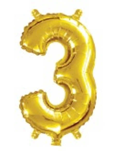 Gold 16inch Number 3 Balloon