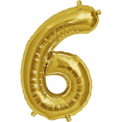 Gold 16inch Number 6 Balloon