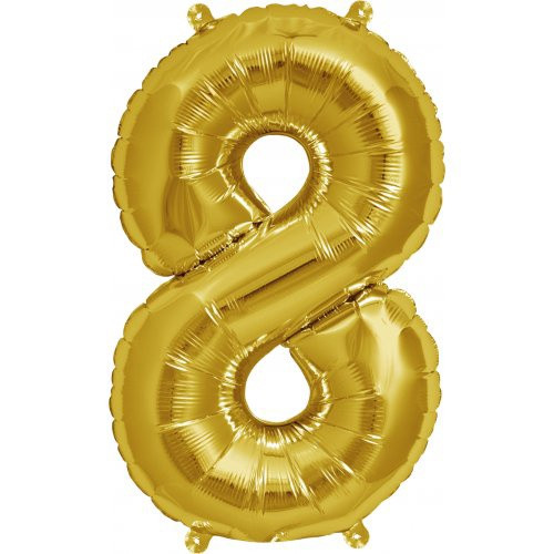 Gold 16inch Number 8 Balloon