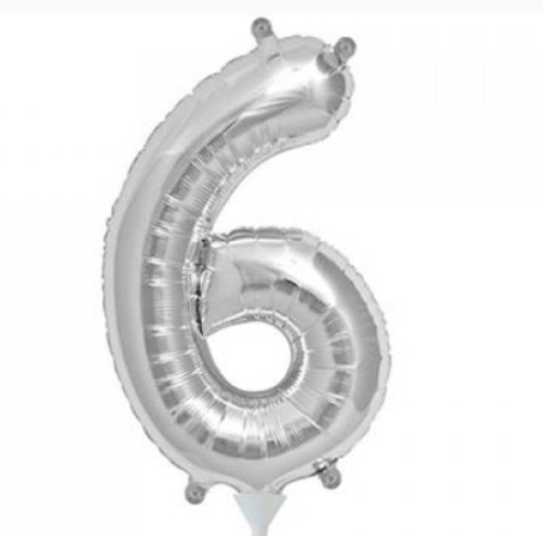Silver 16in Number 6 Balloon