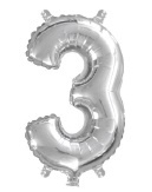 Silver 16 inch Number 3 Balloon