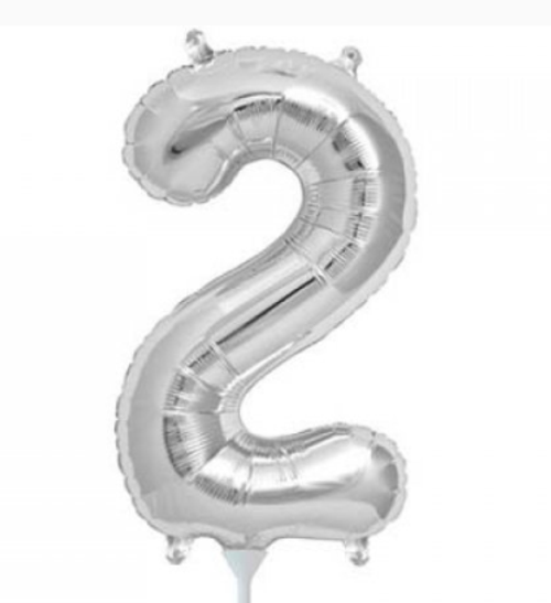 Silver 16in Number 2 Balloon