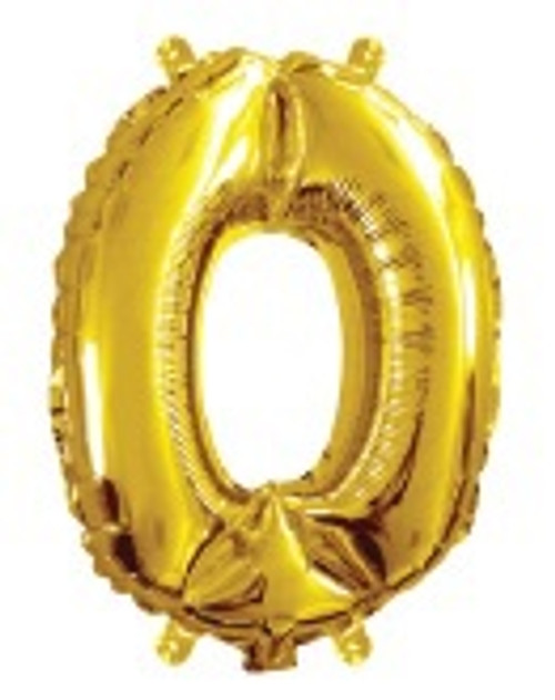 Gold 16inch Number 0 Balloon