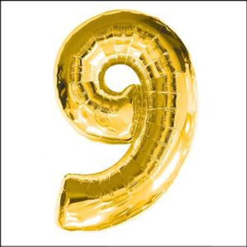 Gold 16in Number 9 Balloon