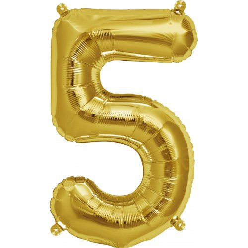 Gold 16inch Number 5 Balloon