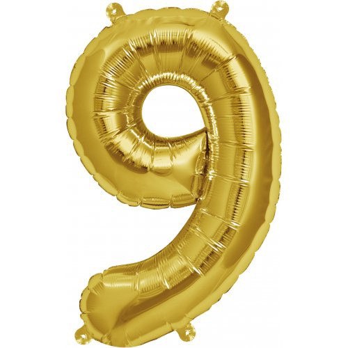 Gold 16inch Number 9 Balloon