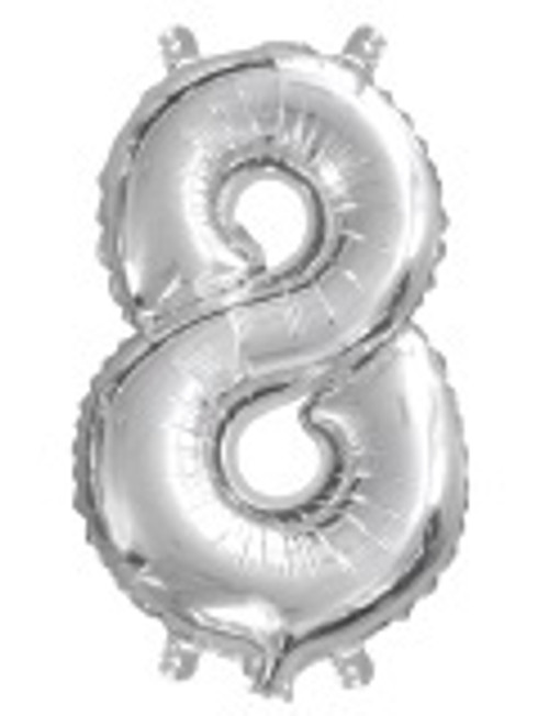 Silver 16 inch Number 8 Balloon