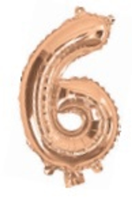 Rose Gold 16inch Number 6 Balloon