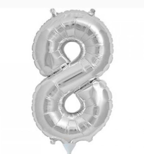 Silver 16in Number 8 Balloon