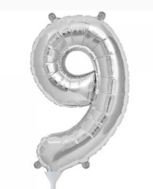 Silver 16in Number 9 Balloon