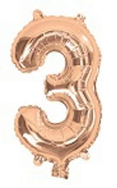 Rose Gold 16inch Number 3 Balloon