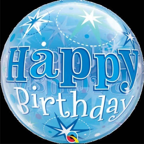 Birthday Blue Starburst Sparkle Bubble Balloon