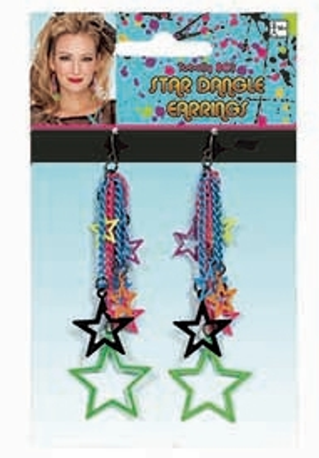 Star Dangle 80's Earrings