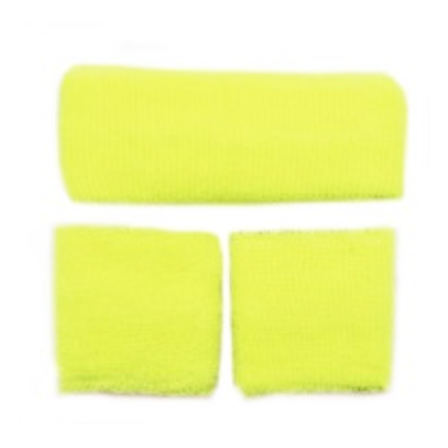 80's Sweatband Set Neon Yellow