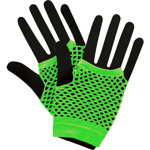 80's Fingerless Short Fishnet Gloves Neon Green
