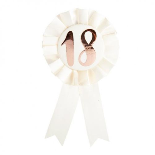 18th Birthday Rose Gold on White Rosette Badge