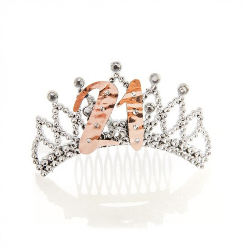 21st Rose Gold and Silver Tiara