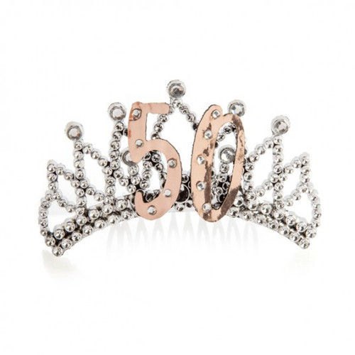 50th Rose Gold and Silver Tiara