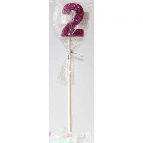 Pink Glitter Long Stick Candle #2