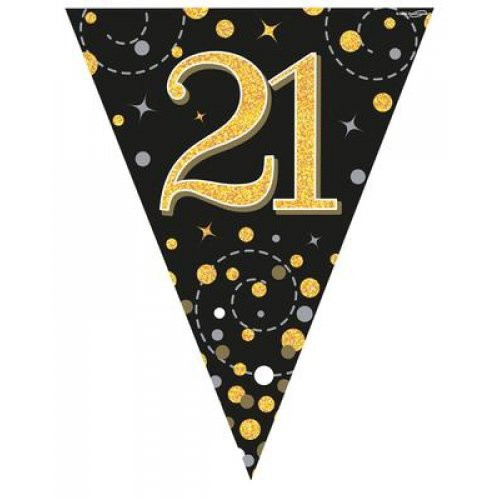 Sparkling Fizz Black and Gold 21st Birthday Bunting