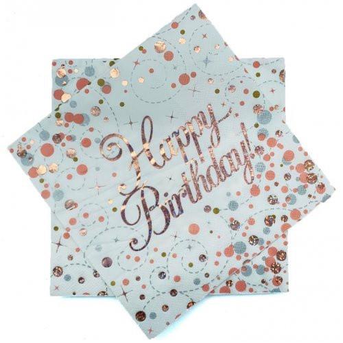 Sparkling Fizz Rose Gold Happy Birthday Napkins