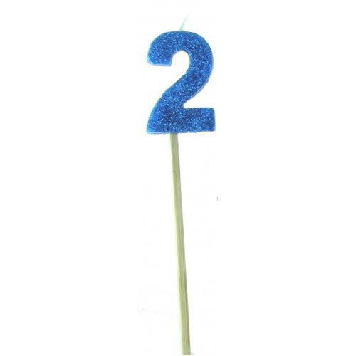 Blue Glitter Long Stick Candle #2