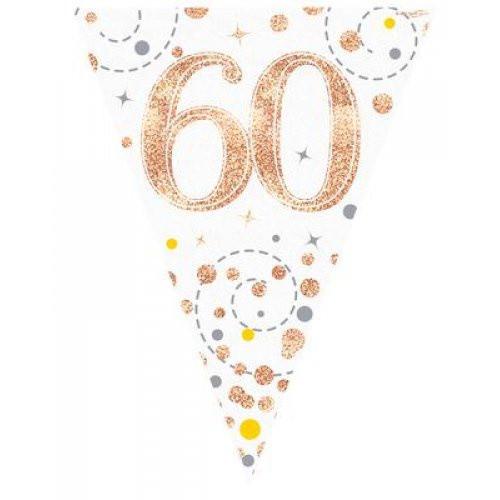 Sparkling Fizz Rose Gold 60th Birthday Bunting