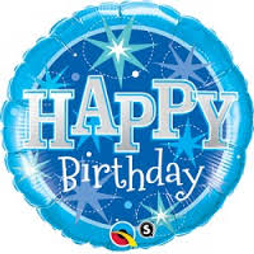 Happy Birthday Blue Sparkle Supershape Foil Balloon