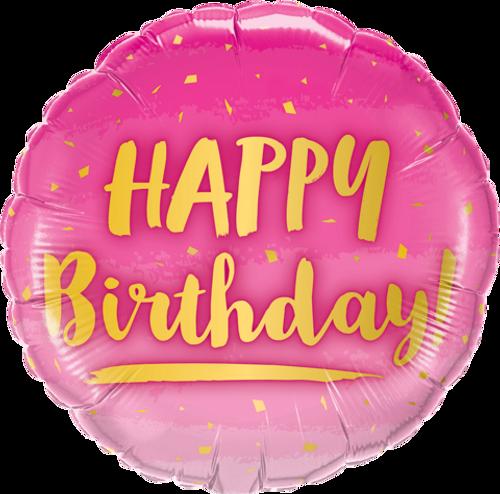 Birthday Gold & Pink Foil Balloon