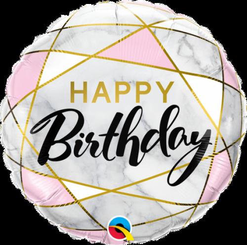 Happy Birthday Marble Rectangles Foil Balloon