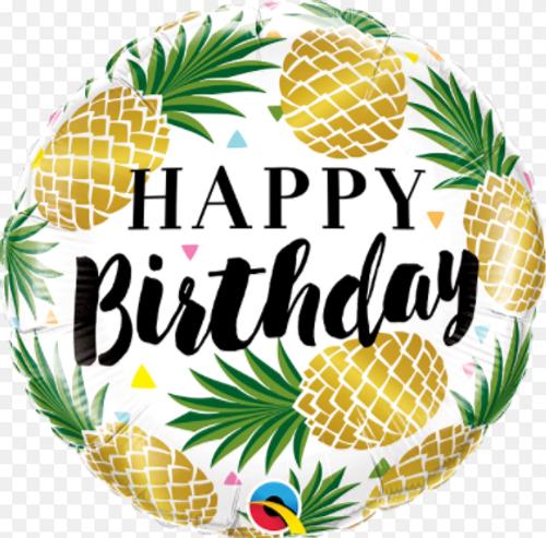 Happy Birthday Golden Pineapples Foil Balloon