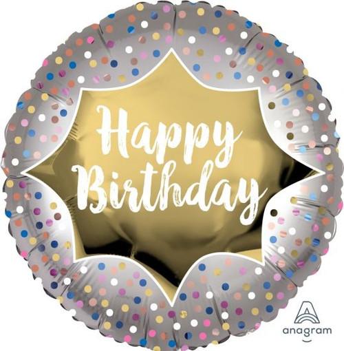 Birthday Satin Gold Burst Foil Balloon