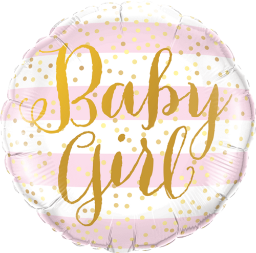 Baby Girl Pink Stripes Foil Balloon