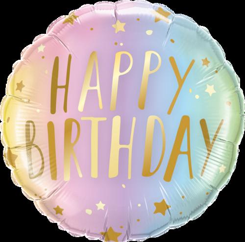 Birthday Pastel Ombre & Stars Foil Balloon