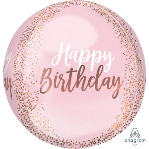 Blush Birthday Foil Orbz Balloon