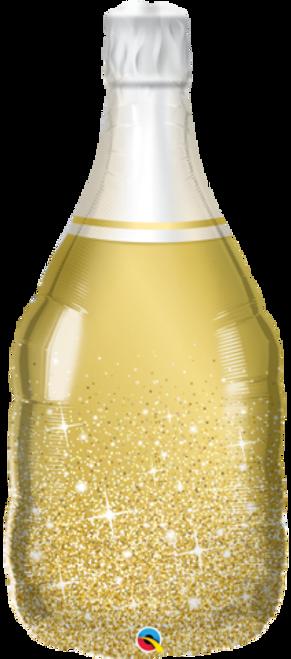 Golden Bubbly Wine Bottle Supershape Foil Balloon
