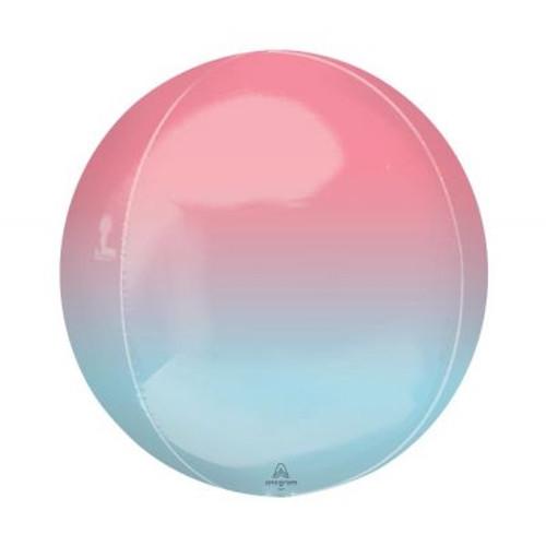 Ombré Red & Blue Orbz Ultrashape Foil Balloon