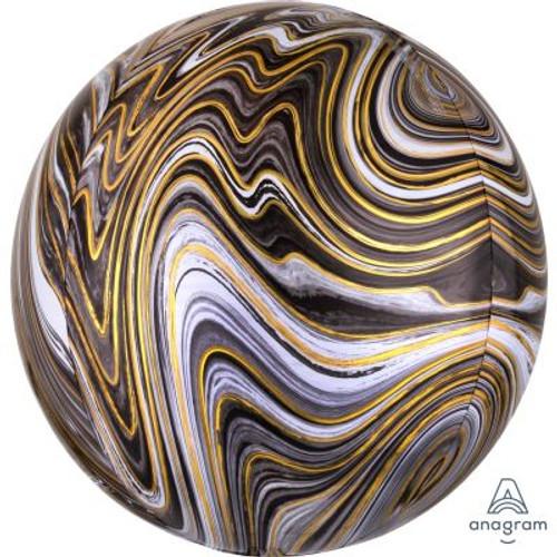 Black Marblez Orbz Ultrashape Foil Balloon