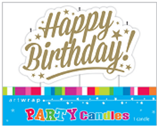 Happy Birthday Script Candle Gold