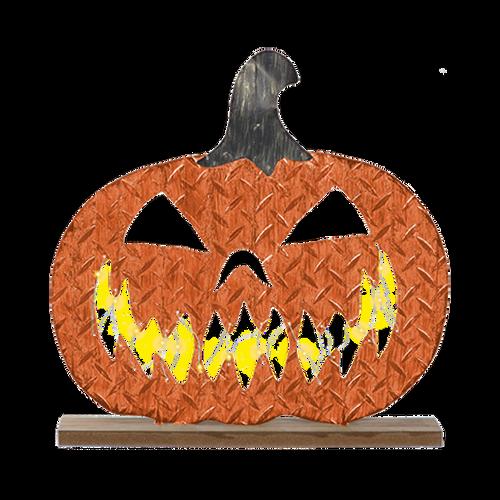 Light Up Galvanized Metal Pumpkin Sign
