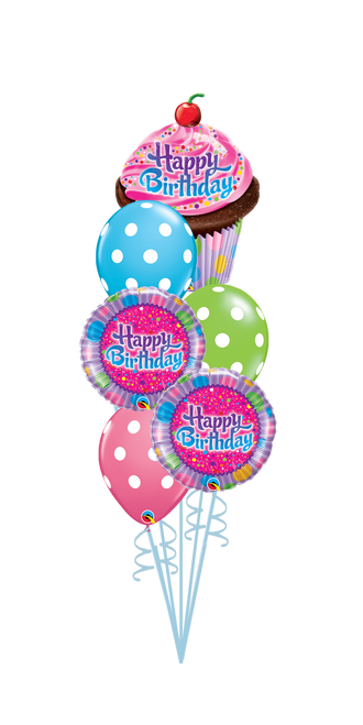 Birthday Cupcake Balloon Bouquet