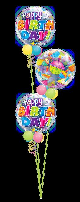 Birthday Cupcake Bubbles Balloon Bouquet